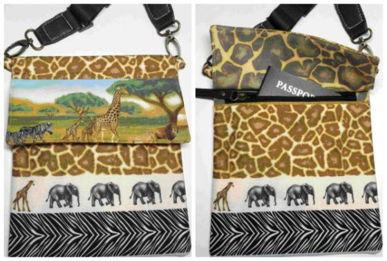 African Savannah Travel Bag Front and with pouch