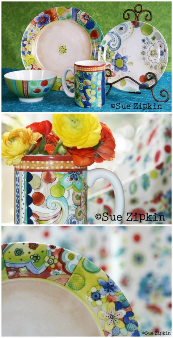 sue zipkin dinnerware collage