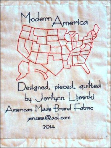 Modern America Quilt label