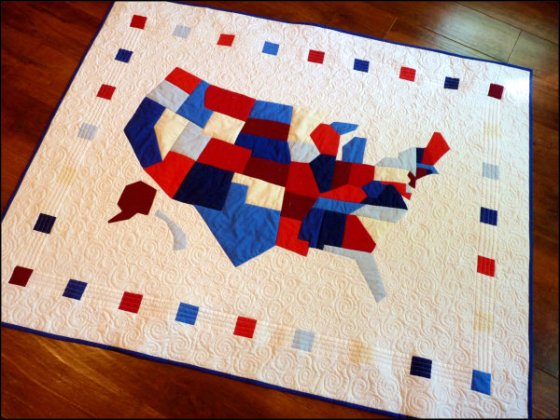 Modern America quilt tilted