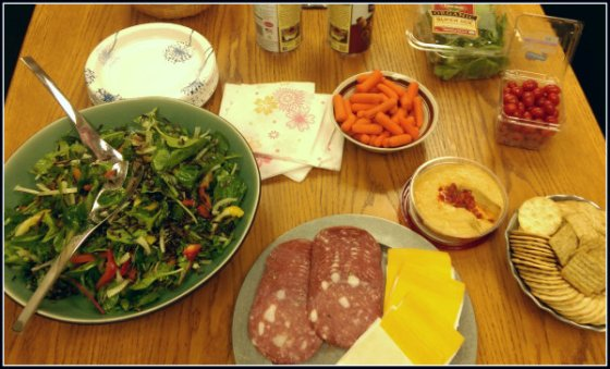 emerald city salad lunch spread