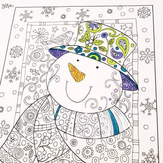 an example of coloring artwork by Sue Zipkin. Free download available on her blog.