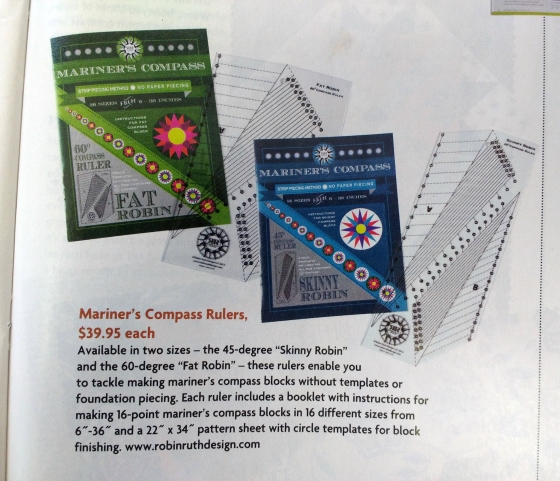 Nifty rulers and books by Robin Long of Robin Ruth Design, spotted in the April/ May 2016 issue of Quilter's Newsletter magazine.
