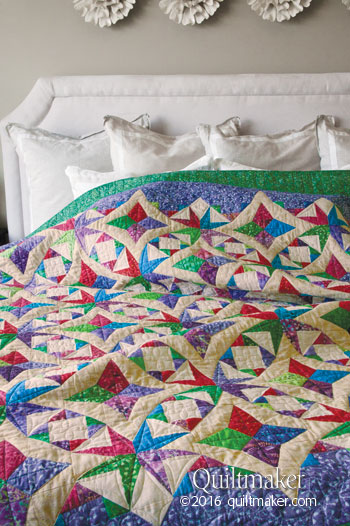 Wedding Diamonds quilt made by Scott Flanagan in Quiltmaker magazine July/August 2016 issue.