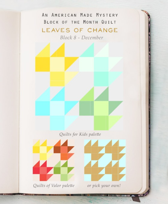 American Made Brand Mystery Bom Quilt Block 8 Leaves Of Change